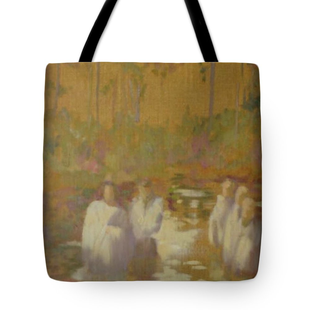 Narrative Tote Bag featuring the painting The Golden Baptism by Barbara Harrison