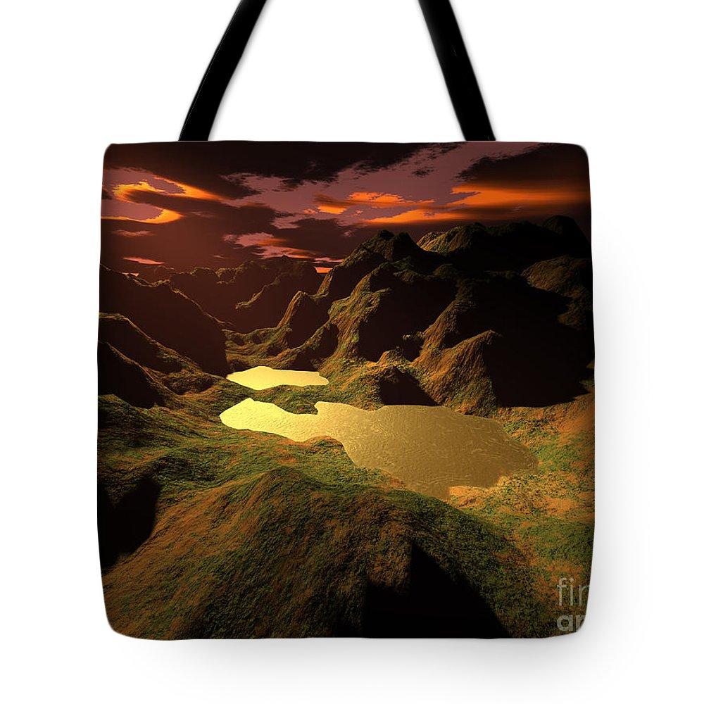 Digital Art Tote Bag featuring the digital art The Golden Lake by Gaspar Avila