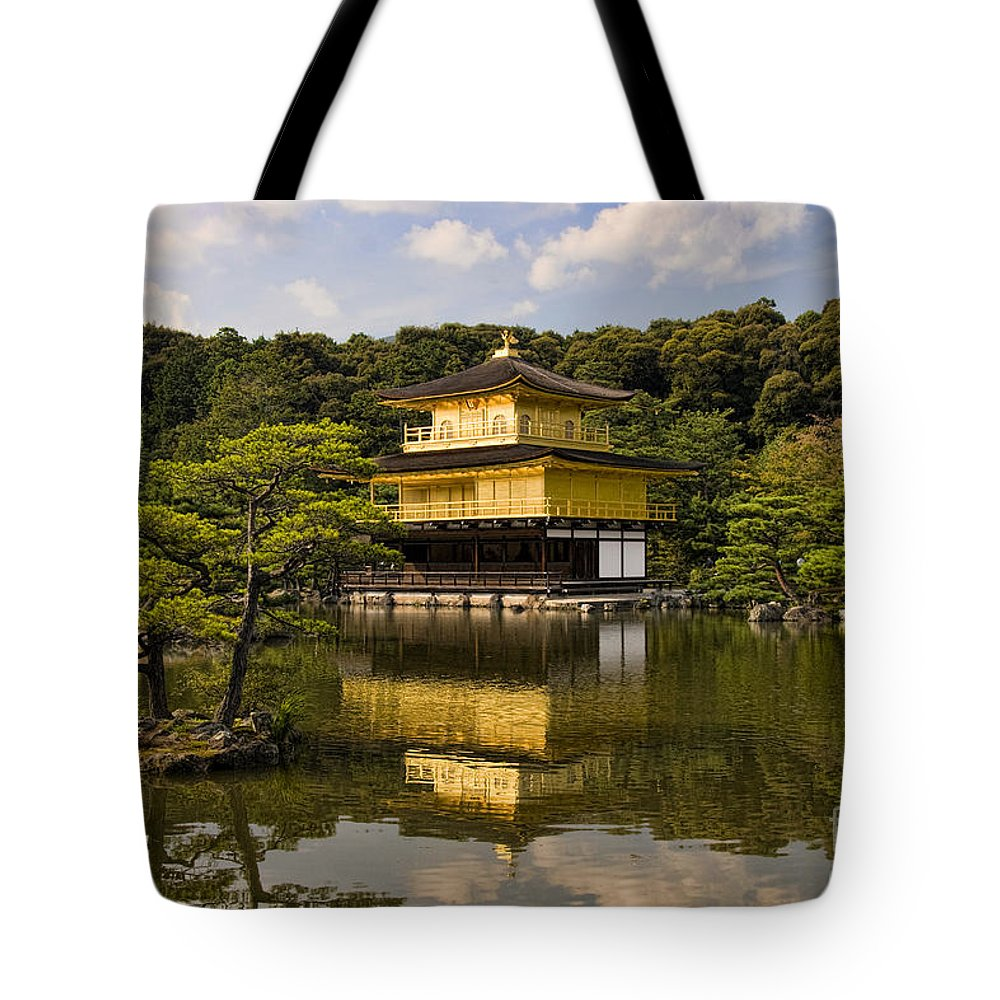 Colour Tote Bag featuring the photograph The Golden Pagoda in Kyoto Japan by David Smith