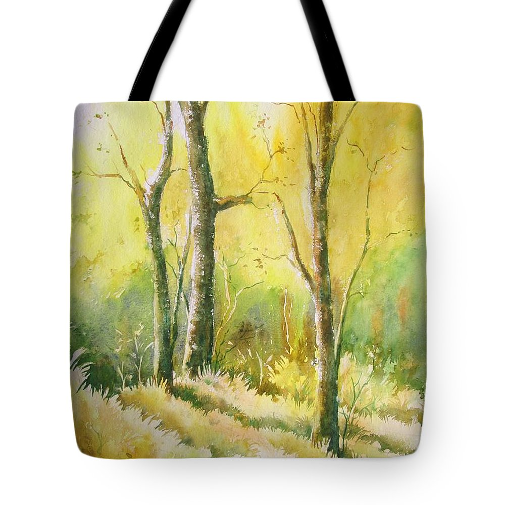 Landscapes Tote Bag featuring the painting The Golden Trio by Sandeep Khedkar