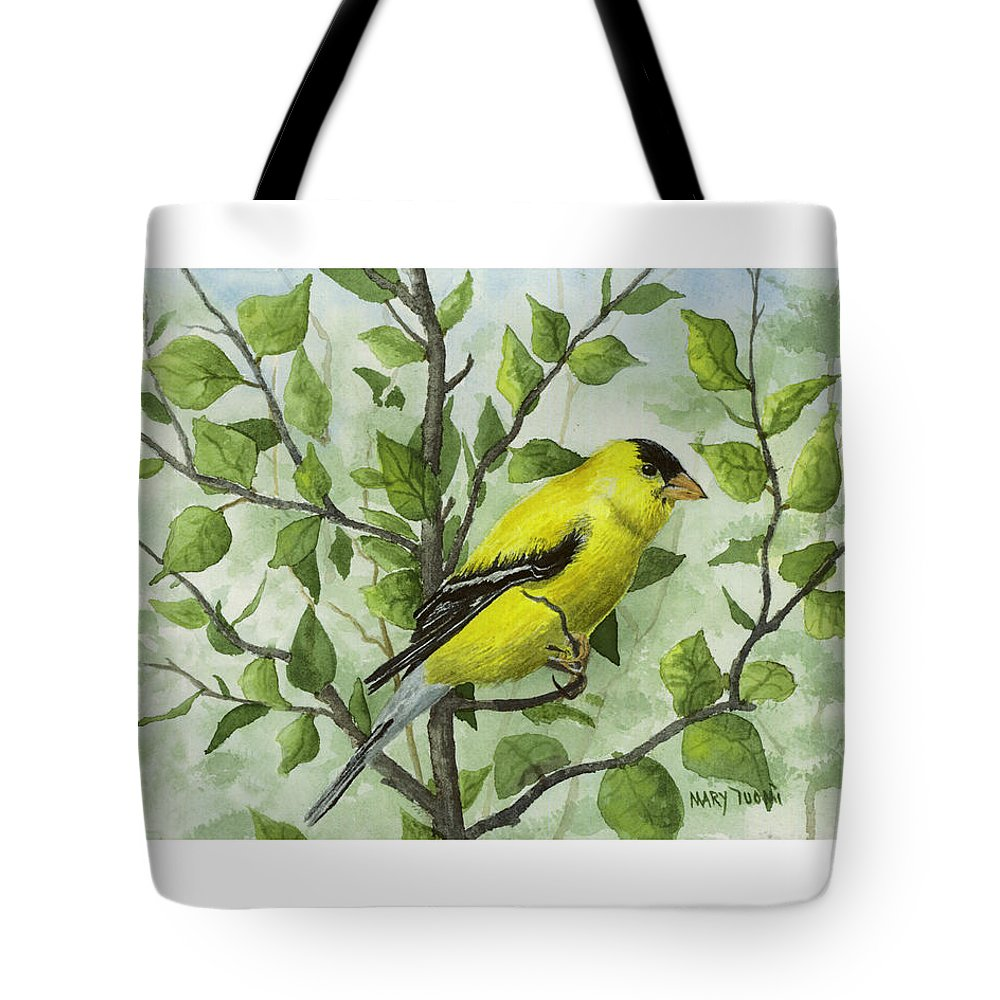 Birds Tote Bag featuring the painting The Goldfinch by Mary Tuomi