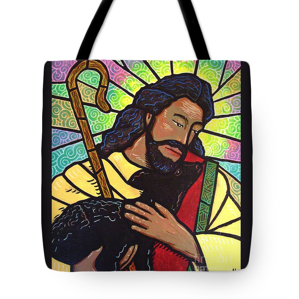 Jesus Tote Bag featuring the painting The Good Shepherd - Practice Painting Two by Jim Harris