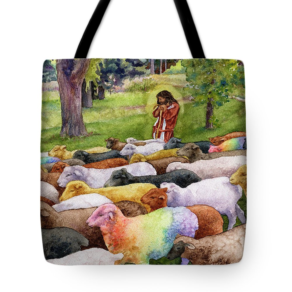 Jesus Painting Tote Bag featuring the painting The Good Shepherd by Anne Gifford