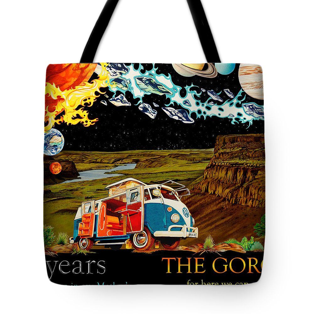 The Gorge Tote Bag featuring the drawing The Gorge-one Sweet World by Joshua Morton