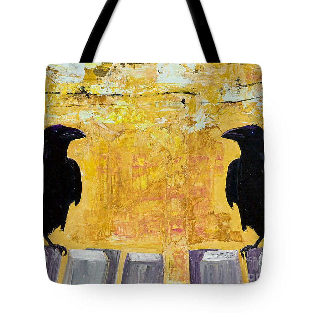 Abstract Realism Tote Bag featuring the painting The Gossips by Pat Saunders-White