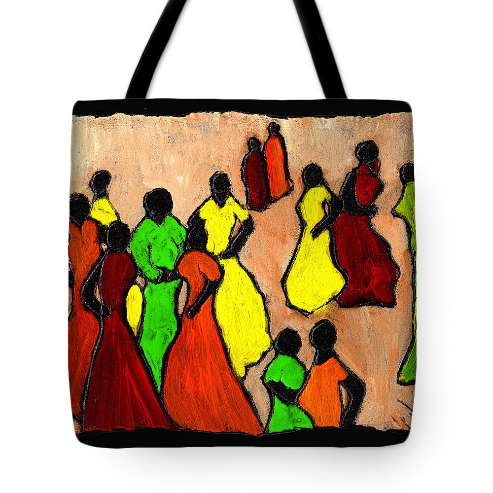 Women Tote Bag featuring the painting The Gossips by Wayne Potrafka