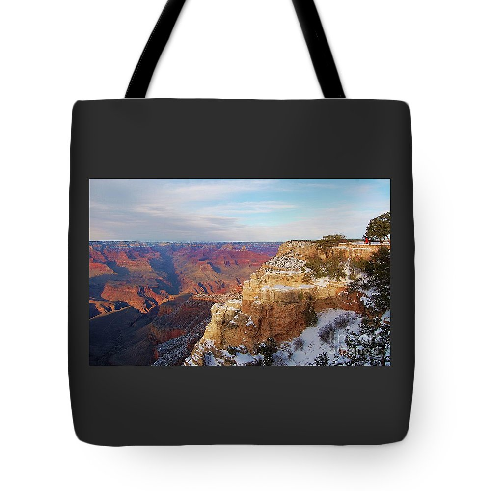 Grand Canyon Art Iconic Place Stock Shot Outdoors Nature Travel Global Known Image Landscape Snow Nature Geological Phenomena Vastness Snow Covered Mountain Sides Blue Sky Trees Rock Formations Endless Vista Contrasts Souvenir Serenity Canvas Print Suggested Metal Frame Wood Print Poster Print Available On Greeting Cards T Shirts Mugs Shower Curtains Tote Bags Mugs Fleece Blankets Yoga Mats And Phone Cases Tote Bag featuring the photograph The Grand Canyon # 4 by Marcus Dagan