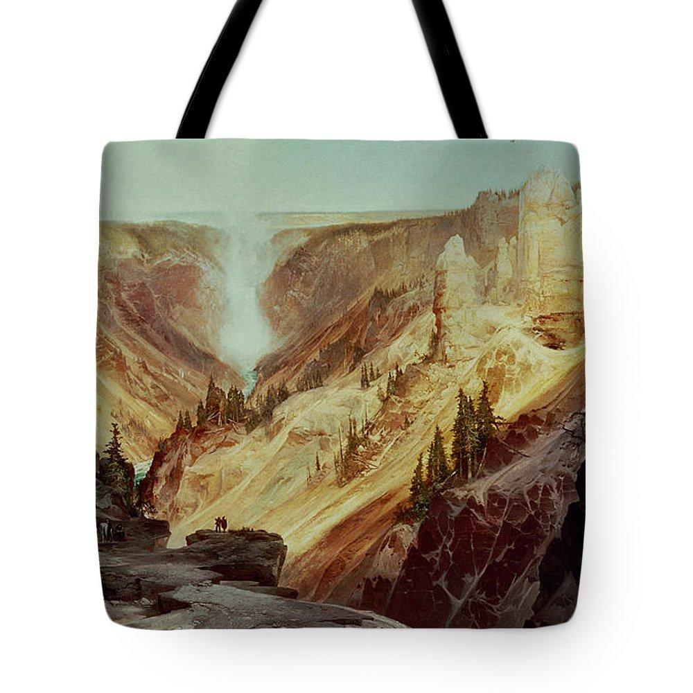 The Grand Canyon Of The Yellowstone Tote Bag featuring the painting The Grand Canyon Of The Yellowstone by Thomas Moran