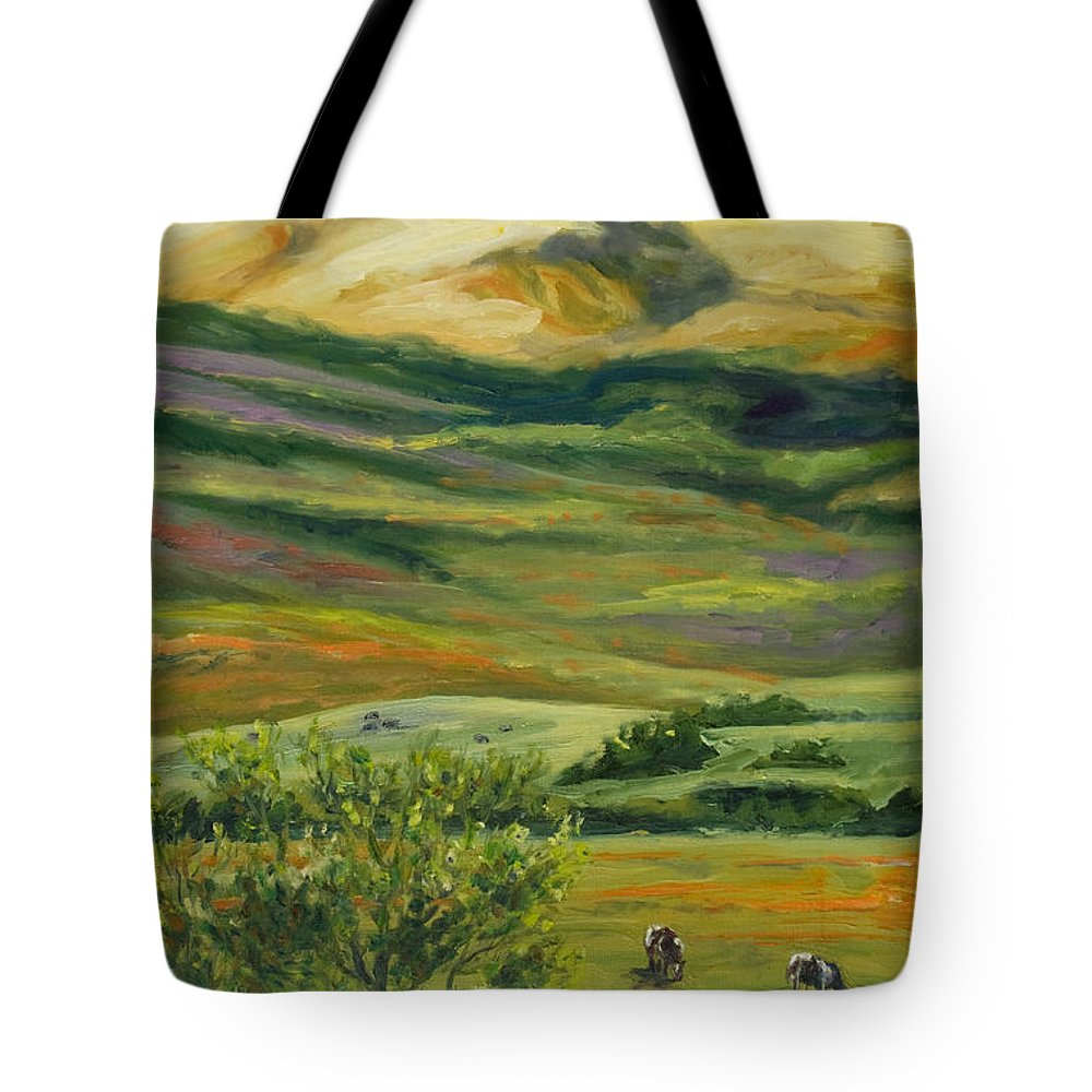 California Hills Tote Bag featuring the painting The Grapevine by Rick Nederlof