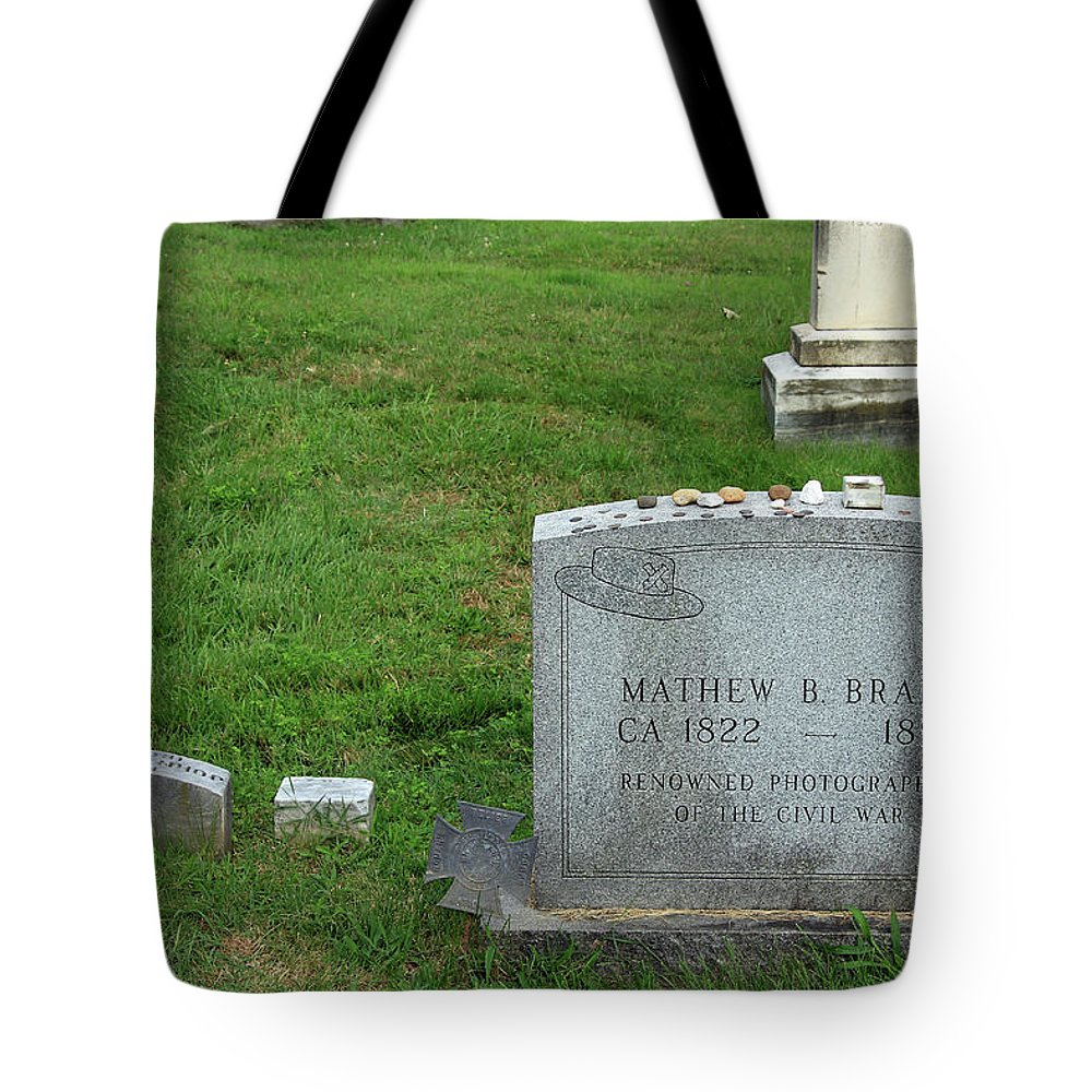 Mathew Tote Bag featuring the photograph The Grave Of Mathew Brady -- Renowned Photographer Of The American Civil War by Cora Wandel