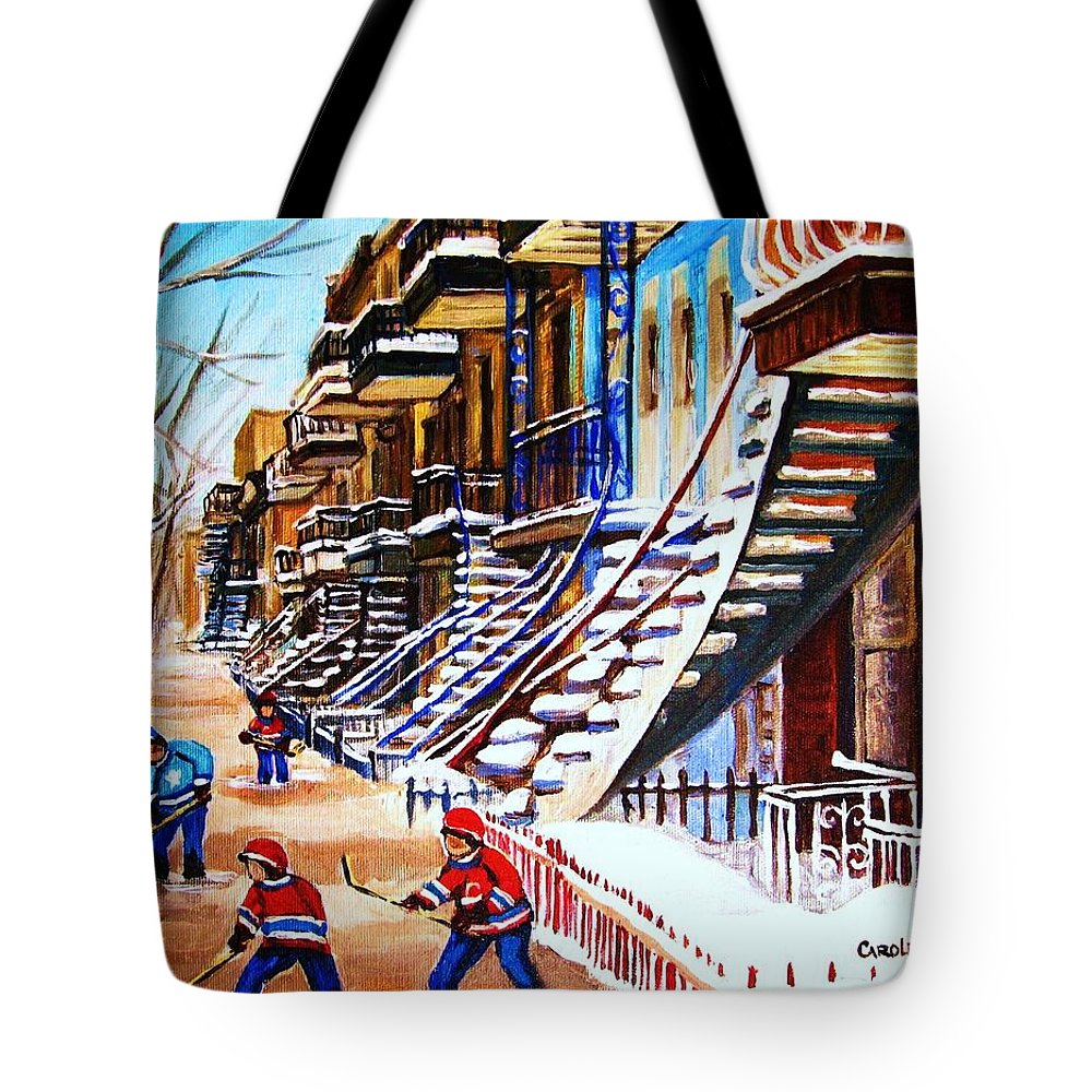 Hockey Tote Bag featuring the painting The Gray Staircase by Carole Spandau