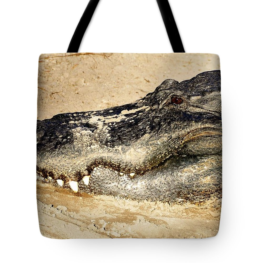 Alligator Tote Bag featuring the photograph The Great Alligator by David Lee Thompson