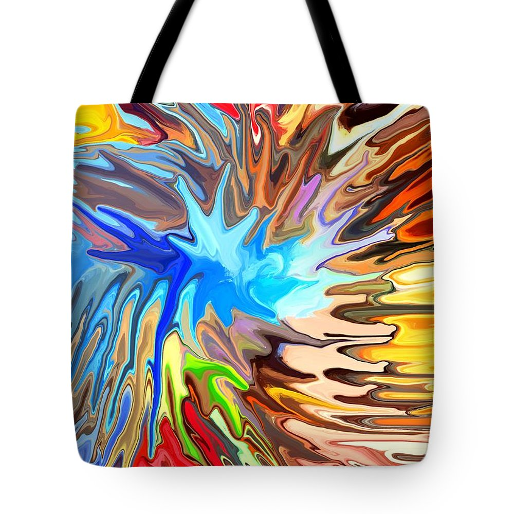 Abstract Tote Bag featuring the digital art The Great Barrier Reef by Chris Butler