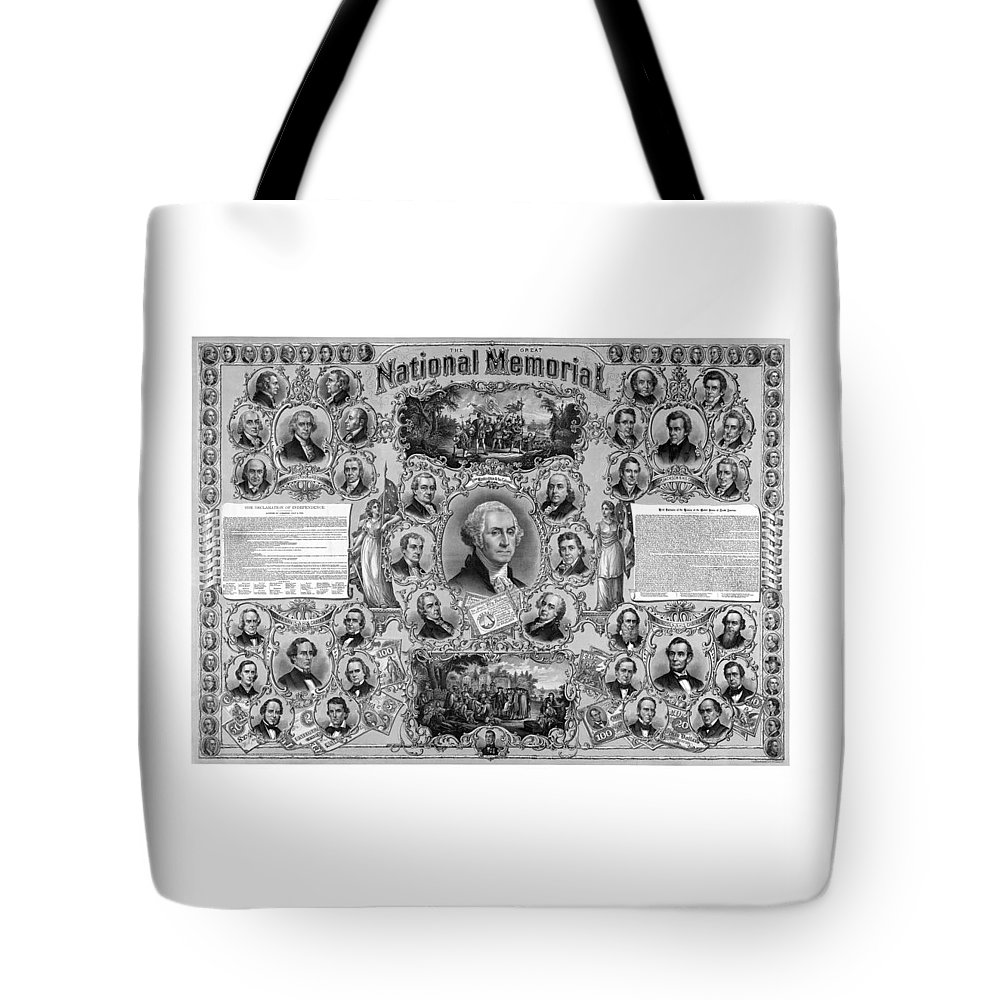 American History Tote Bag featuring the mixed media The Great National Memorial by War Is Hell Store