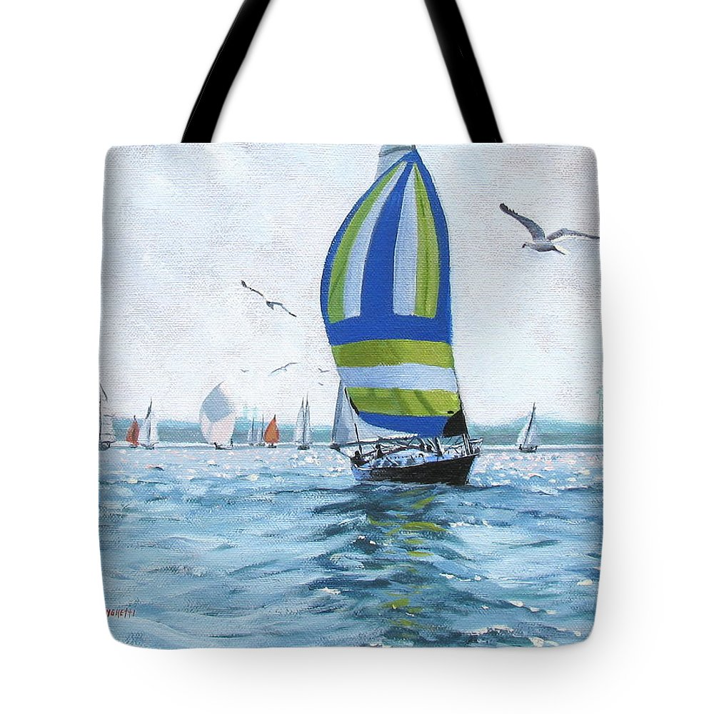 Oil Painting Tote Bag featuring the painting The Great Race 06 by Laura Lee Zanghetti