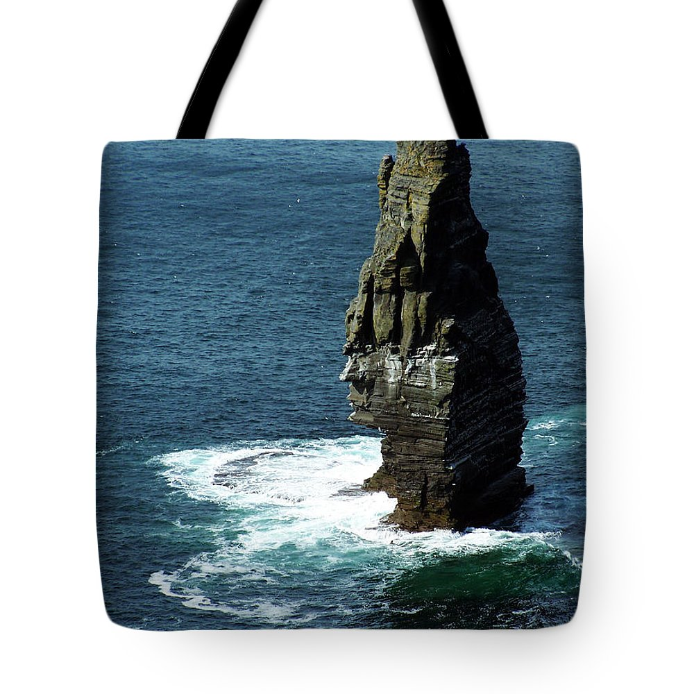 Irish Tote Bag featuring the photograph The Great Sea Stack Brananmore Cliffs Of Moher Ireland by Teresa Mucha