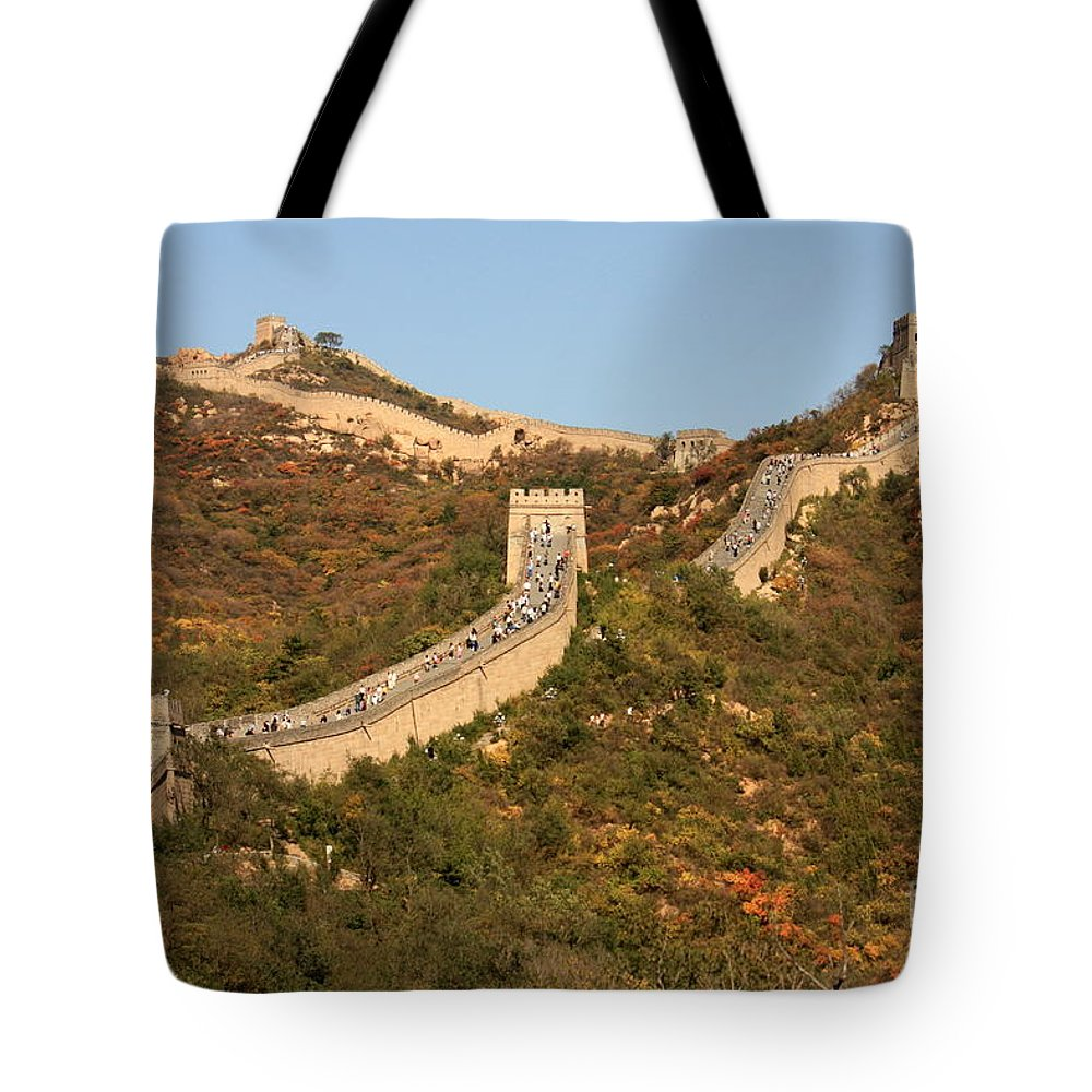 The Great Wall Of China Tote Bag featuring the photograph The Great Wall On Beautiful Autumn Day by Carol Groenen