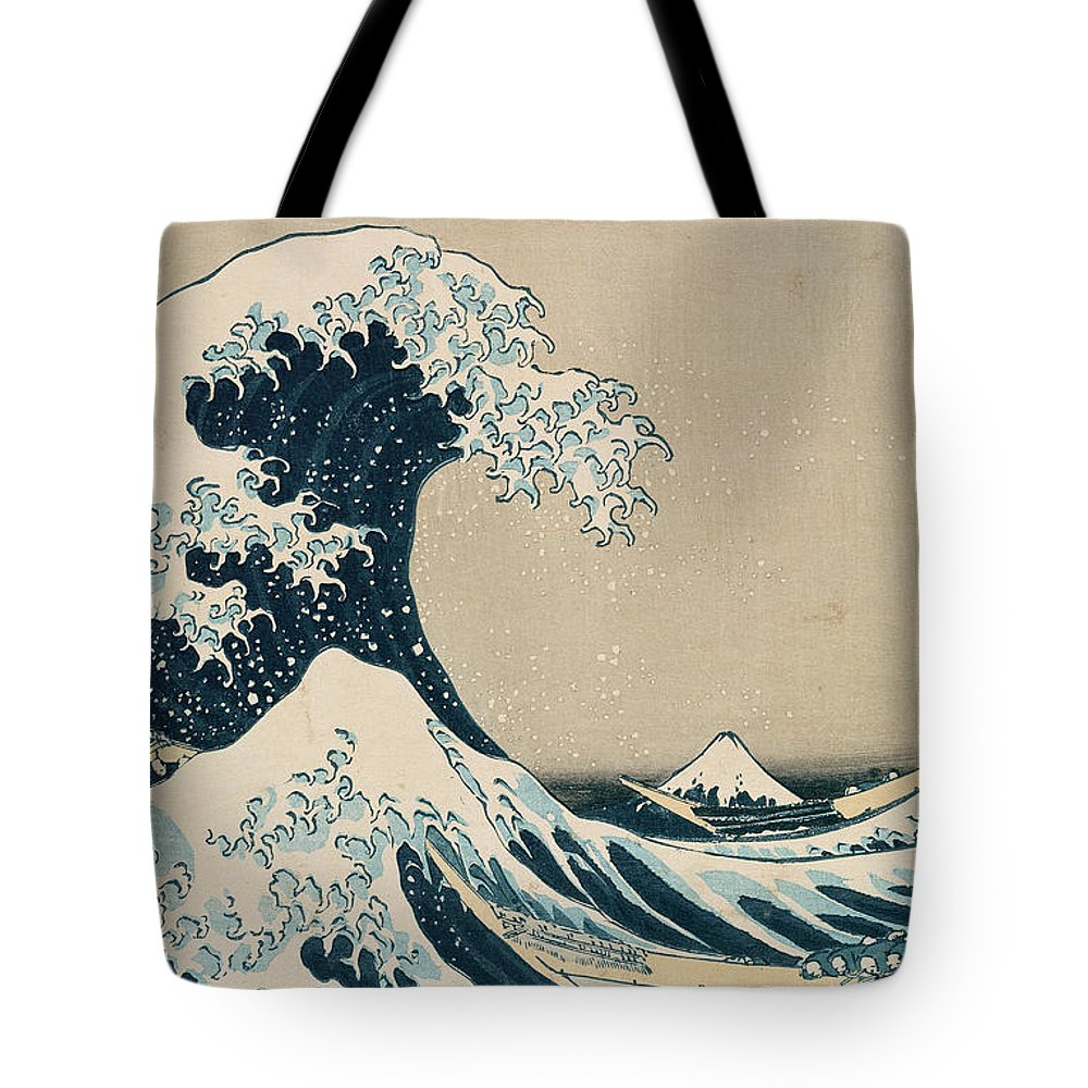 Wave Tote Bag featuring the painting The Great Wave of Kanagawa by Hokusai