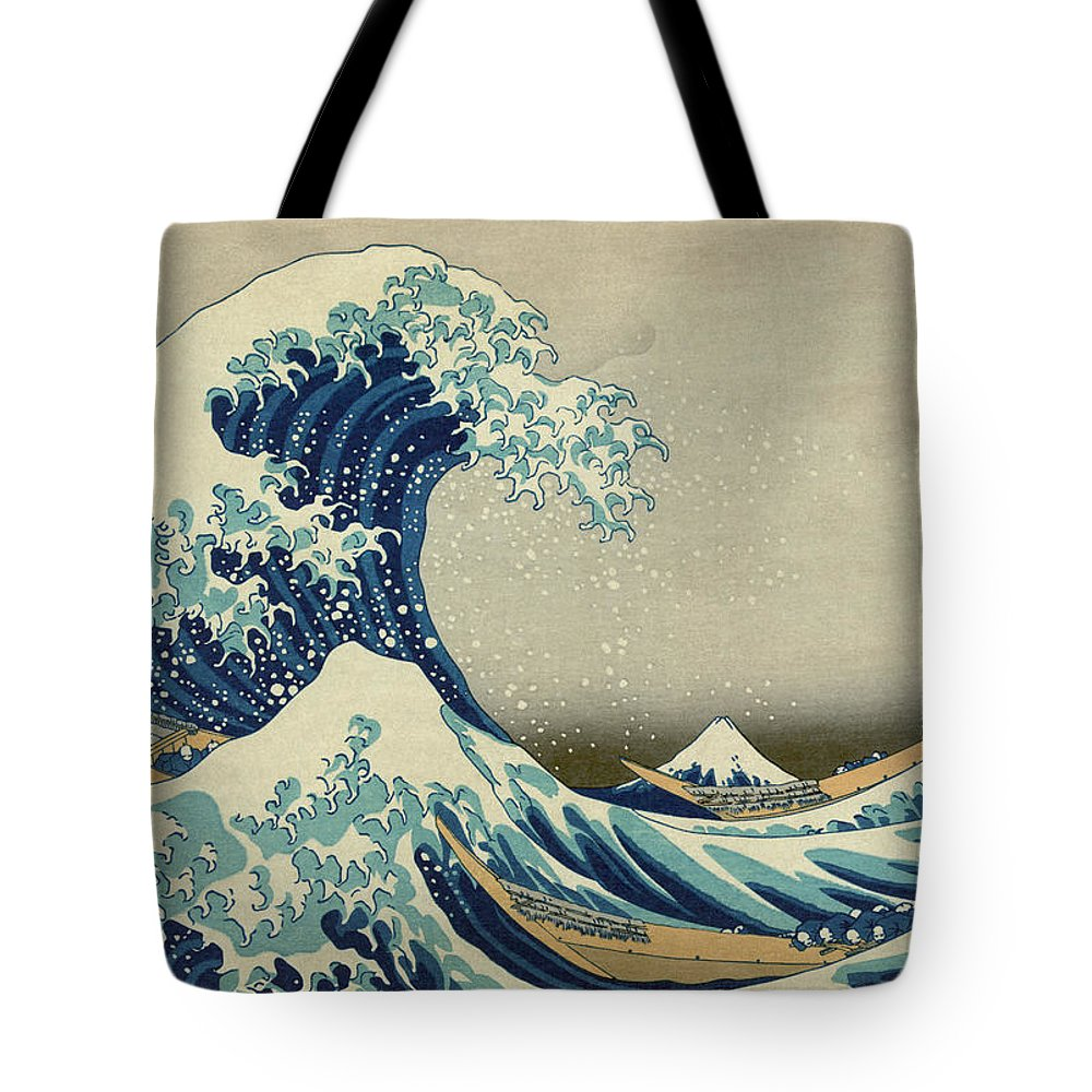 Great Wave Off Kanagawa Tote Bag featuring the painting The Great Wave Off Kanagawa - Hokusai by War Is Hell Store