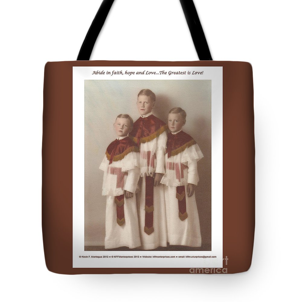 Holy Tote Bag featuring the painting The Greatest Is Love by Kevin Montague