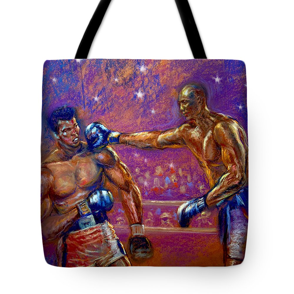 Boxing Tote Bag featuring the pastel the Greatest Muhammed Ali vs Jack Johnson by Tommy Winn