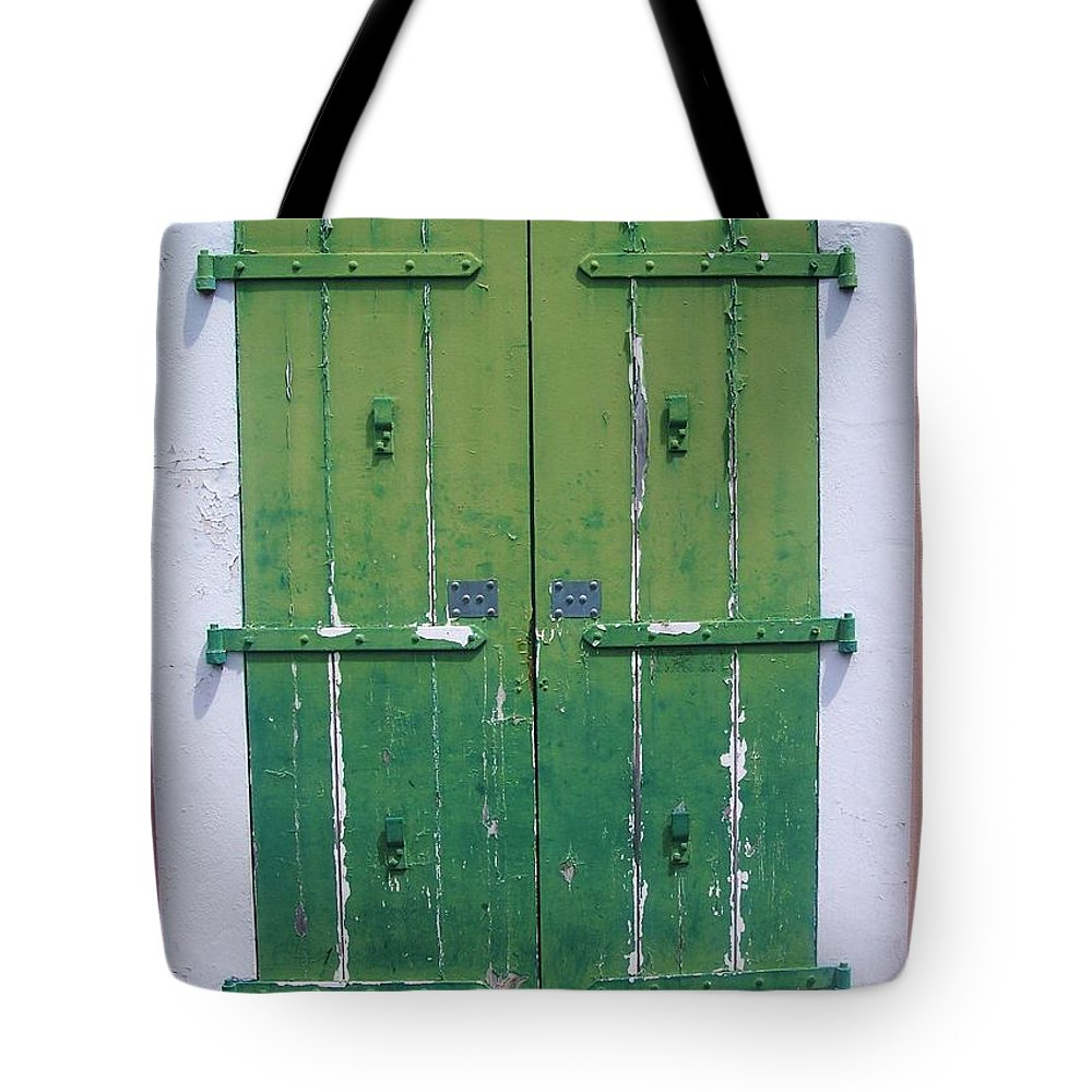 Architecture Tote Bag featuring the photograph The Green Door by Debbi Granruth