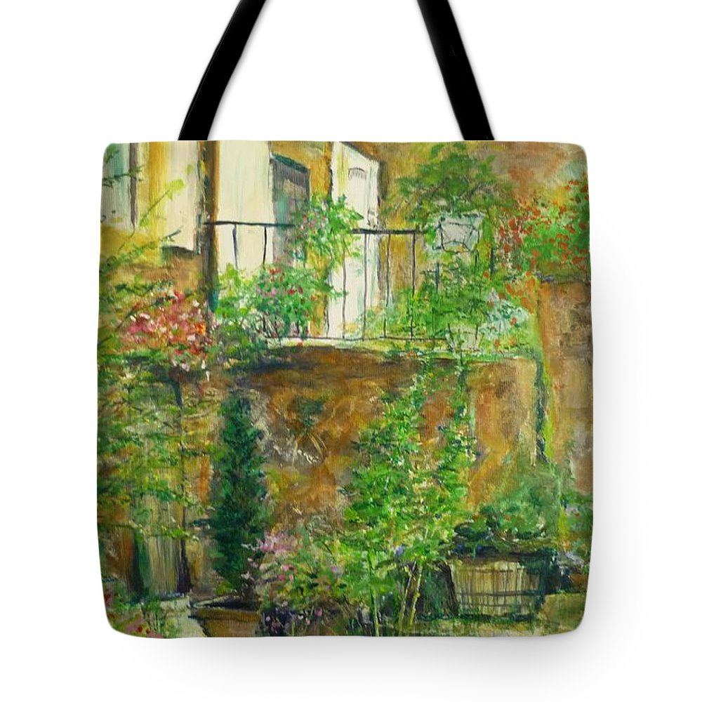 Stone Tote Bag featuring the painting The Green Door by Lizzy Forrester