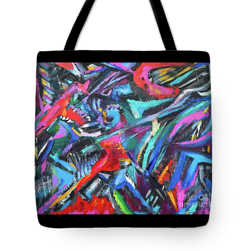 Bold Strokes And Intense Texture.vibrant Colors And Black Accents .contemporary Modern Abstract Expressionist Painting  Tote Bag featuring the painting The green dragons Tail by Priscilla Batzell Expressionist Art Studio Gallery