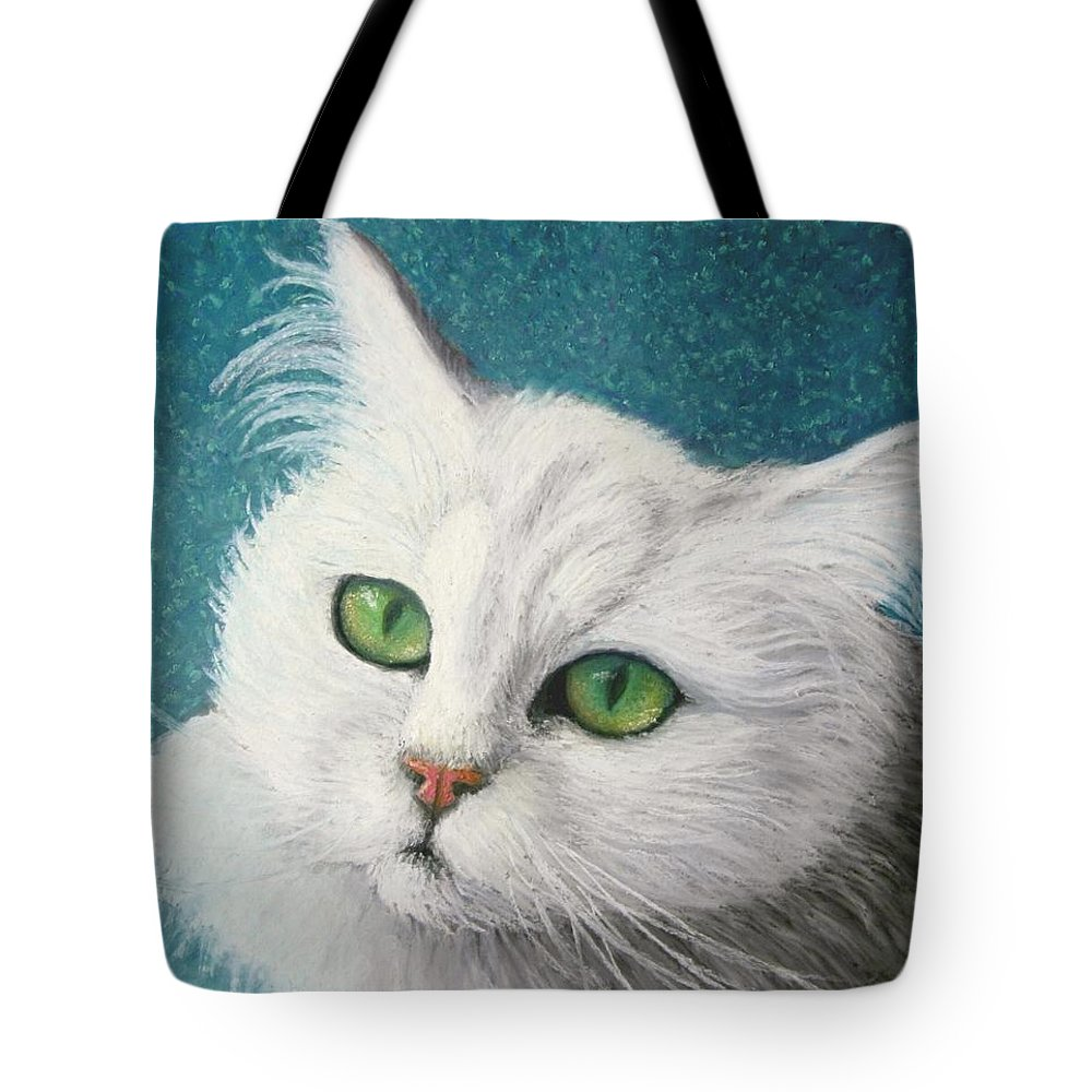 Angora Cat Tote Bag featuring the painting The Green Eyed Vamp by Minaz Jantz
