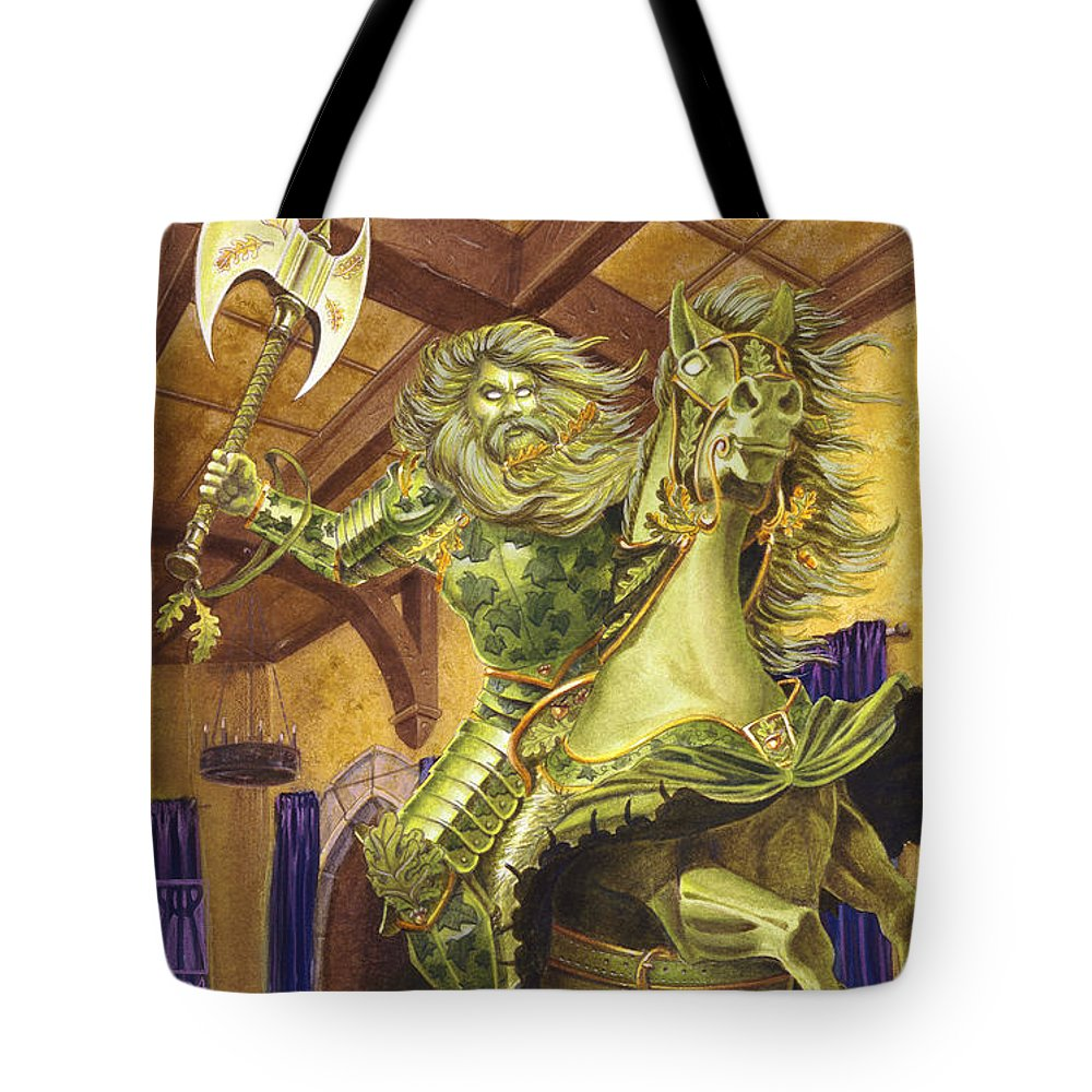 Fine Art Tote Bag featuring the painting The Green Knight by Melissa A Benson