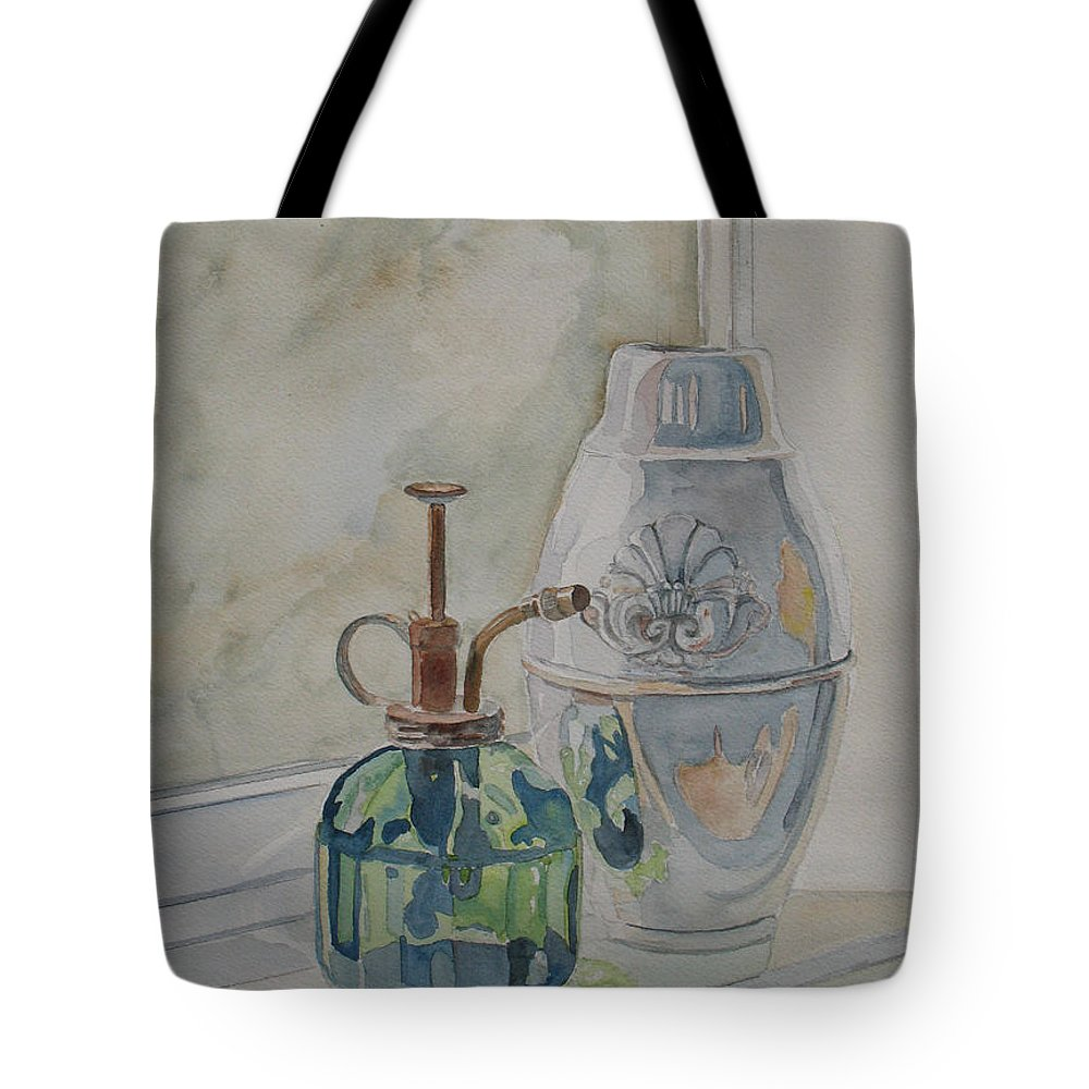 Plant Mister Tote Bag featuring the painting The Green Mister by Jenny Armitage