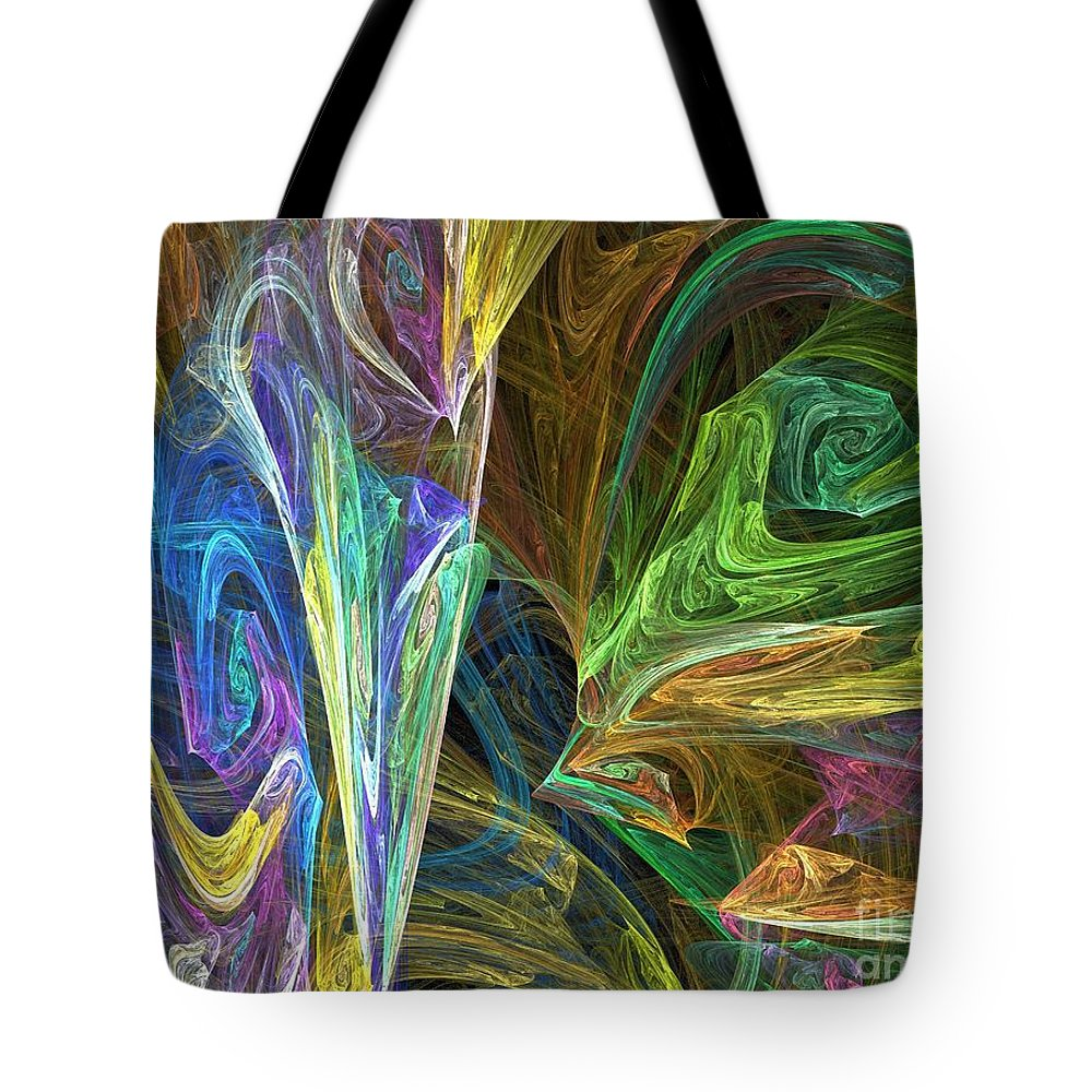 Fractals Tote Bag featuring the digital art The Groove by Richard Rizzo