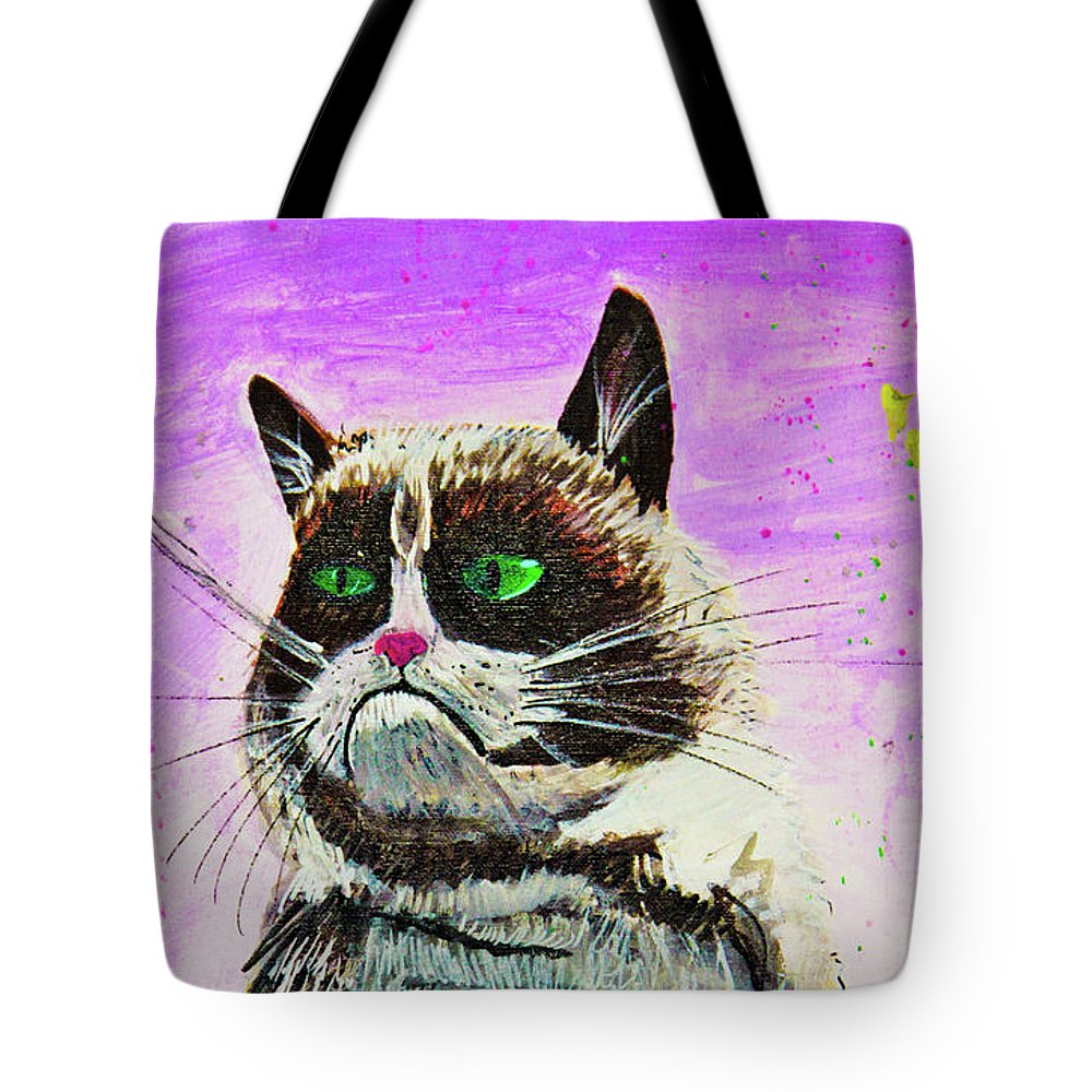 Grumpy Cat Tote Bag featuring the painting The Grumpy Cat From The Internets by eVol i