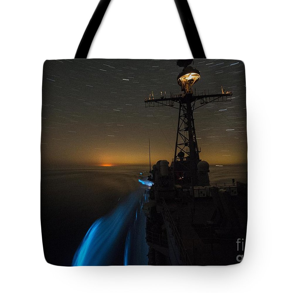 The Guided-missile Cruiser Uss San Jacinto (cg 56) Tote Bag featuring the painting The Guided-missile Cruiser Uss San Jacinto by Celestial Images