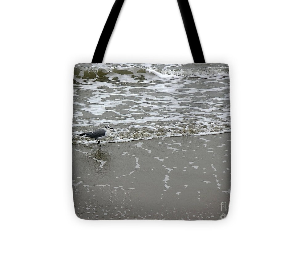 Nature Tote Bag featuring the photograph The Gulf In Shades Of Gray - On The Edge by Lucyna A M Green