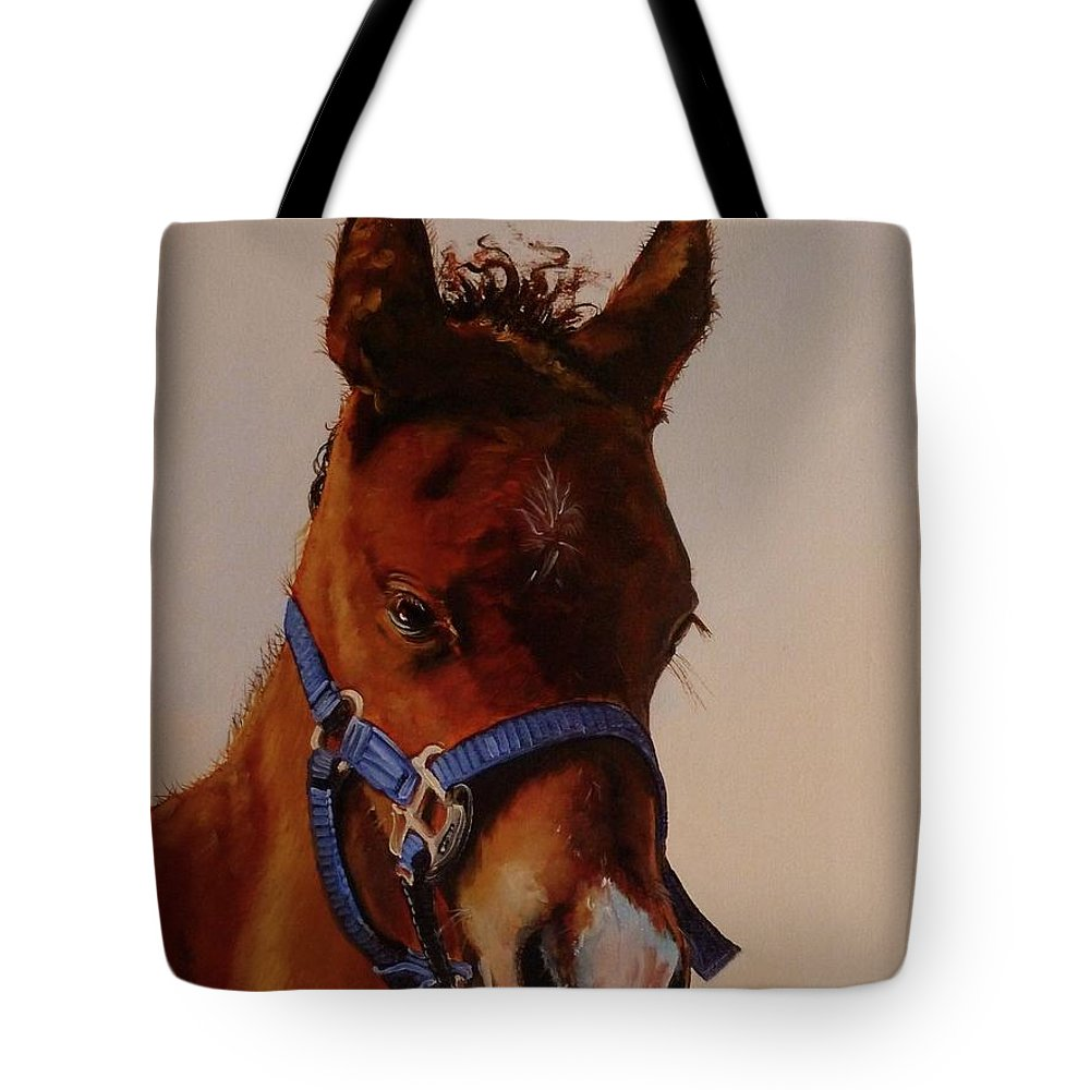 Judy Bradley Tote Bag featuring the painting The Halter by Judy Bradley