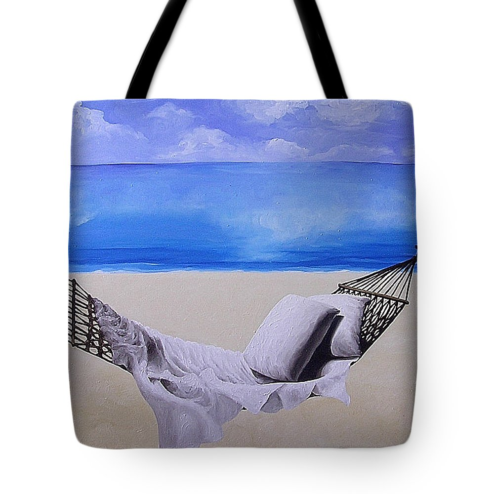 Seascape Tote Bag featuring the painting The Hammock by Trisha Lambi