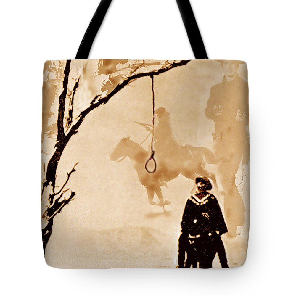 Clint Eastwood Tote Bag featuring the digital art The Hangman's Tree by Seth Weaver