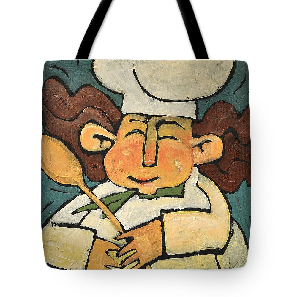 Chef Tote Bag featuring the painting The Happy Chef by Tim Nyberg