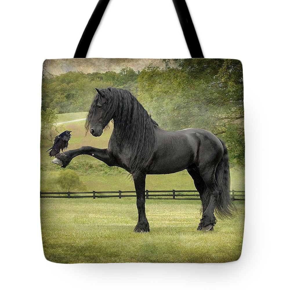 Friesian Horses Tote Bag featuring the photograph The Harbinger by Fran J Scott