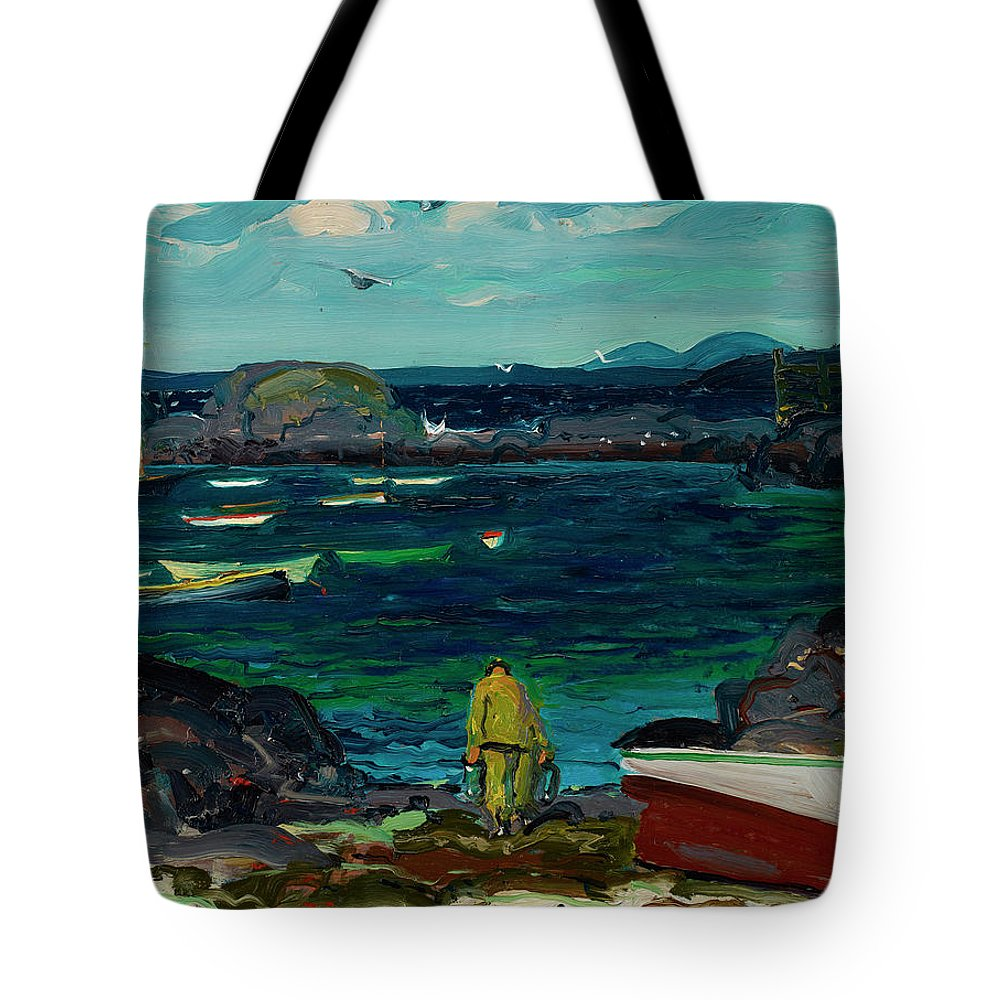 Monhegan Tote Bag featuring the painting The Harbor, Monhegan Coast, Maine, 1913 by George Bellows