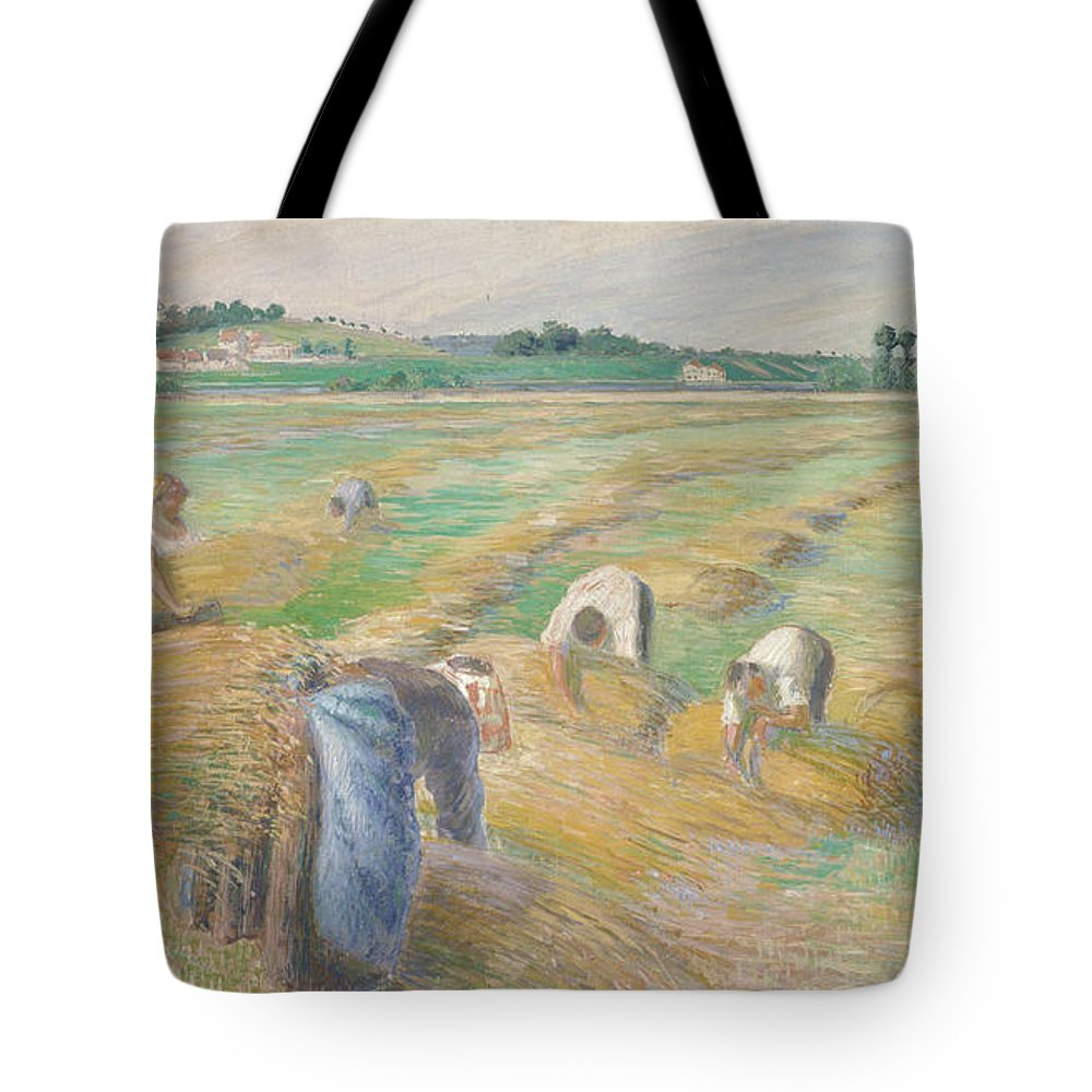 Camille Pissarro Tote Bag featuring the painting The Harvest by Camille Pissarro