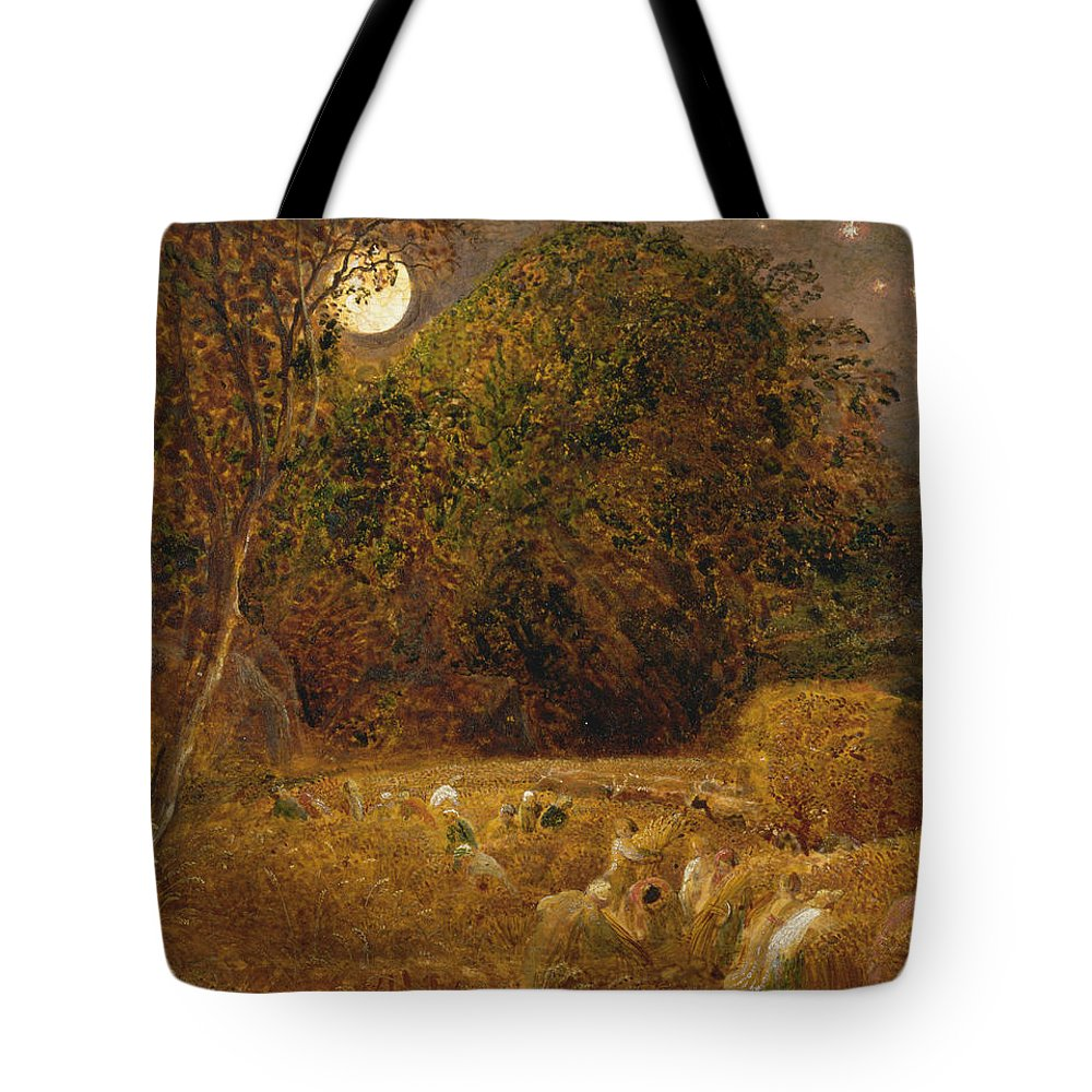 Samuel Palmer Tote Bag featuring the painting The Harvest Moon by Samuel Palmer