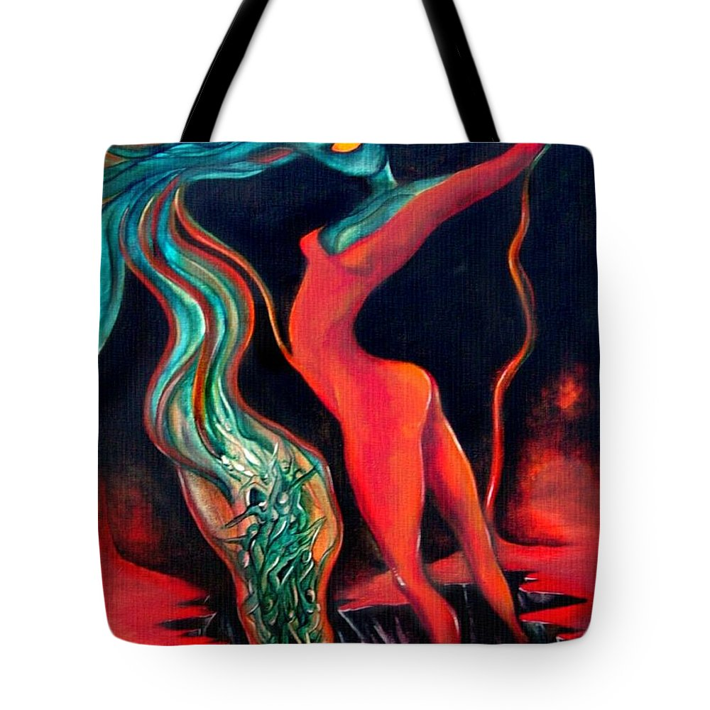 Surrealistic Harvest Red Hearth Woman Tote Bag featuring the painting The Harvest by Veronica Jackson