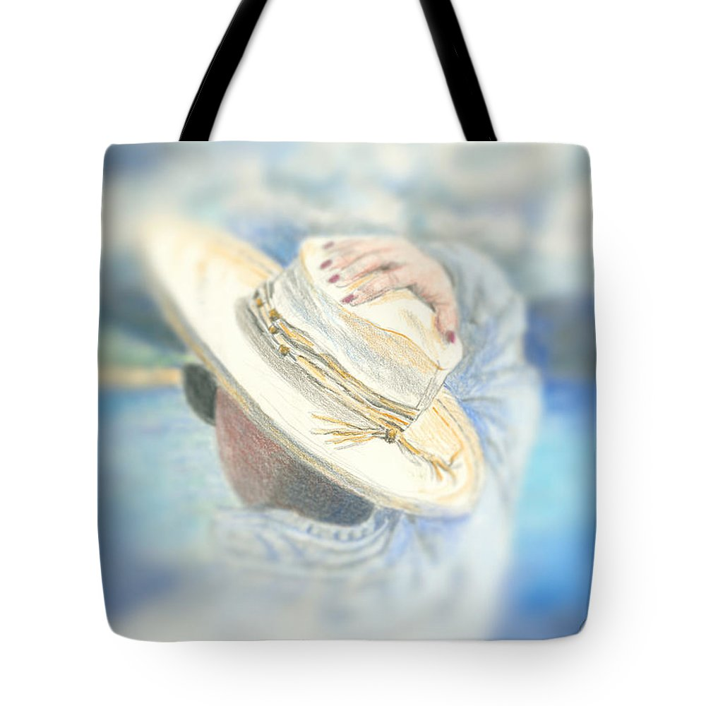 Hat Tote Bag featuring the mixed media The Hat by Arline Wagner