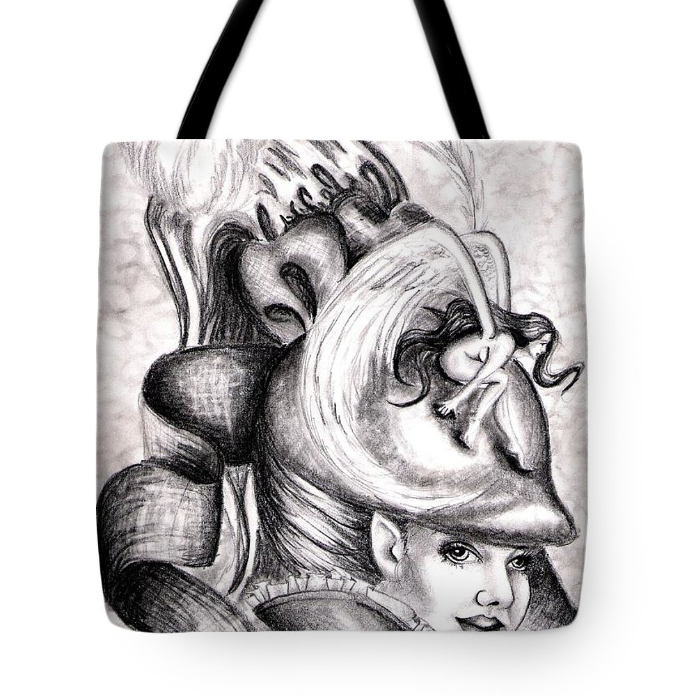 Fantasy Tote Bag featuring the drawing The Hat by Scarlett Royal