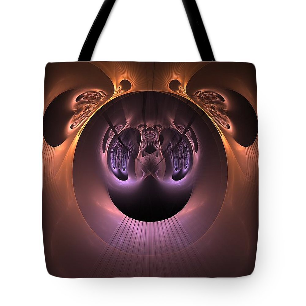 Fractal Tote Bag featuring the digital art The Haunted Mirror by Lyle Hatch