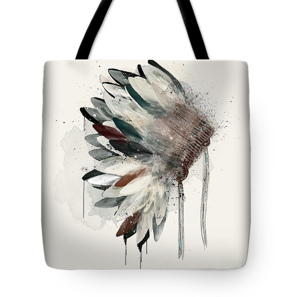Native Headdress Tote Bag featuring the painting The Headdress by Bri Buckley