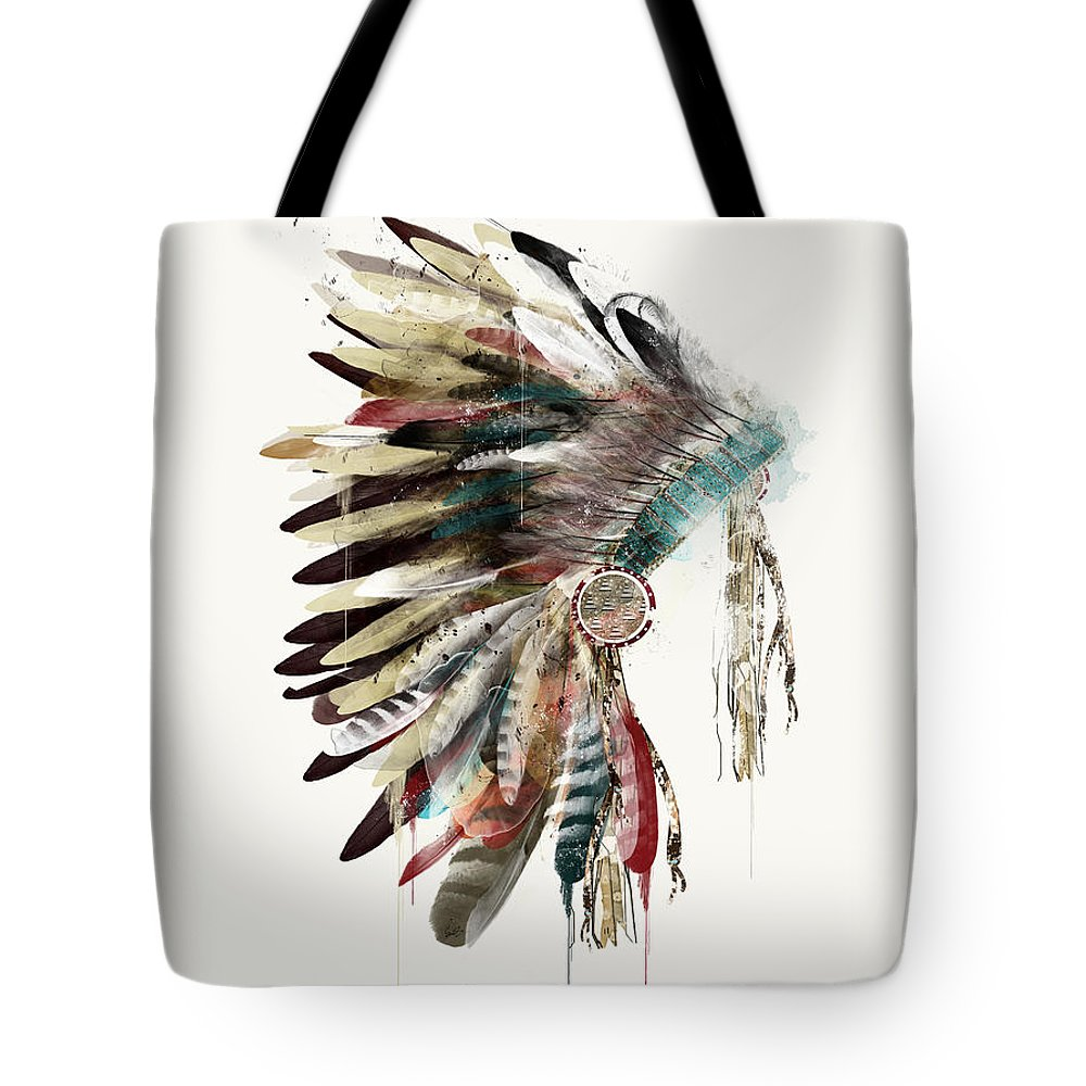 Headdress Tote Bag featuring the painting The Headdress by Bri Buckley