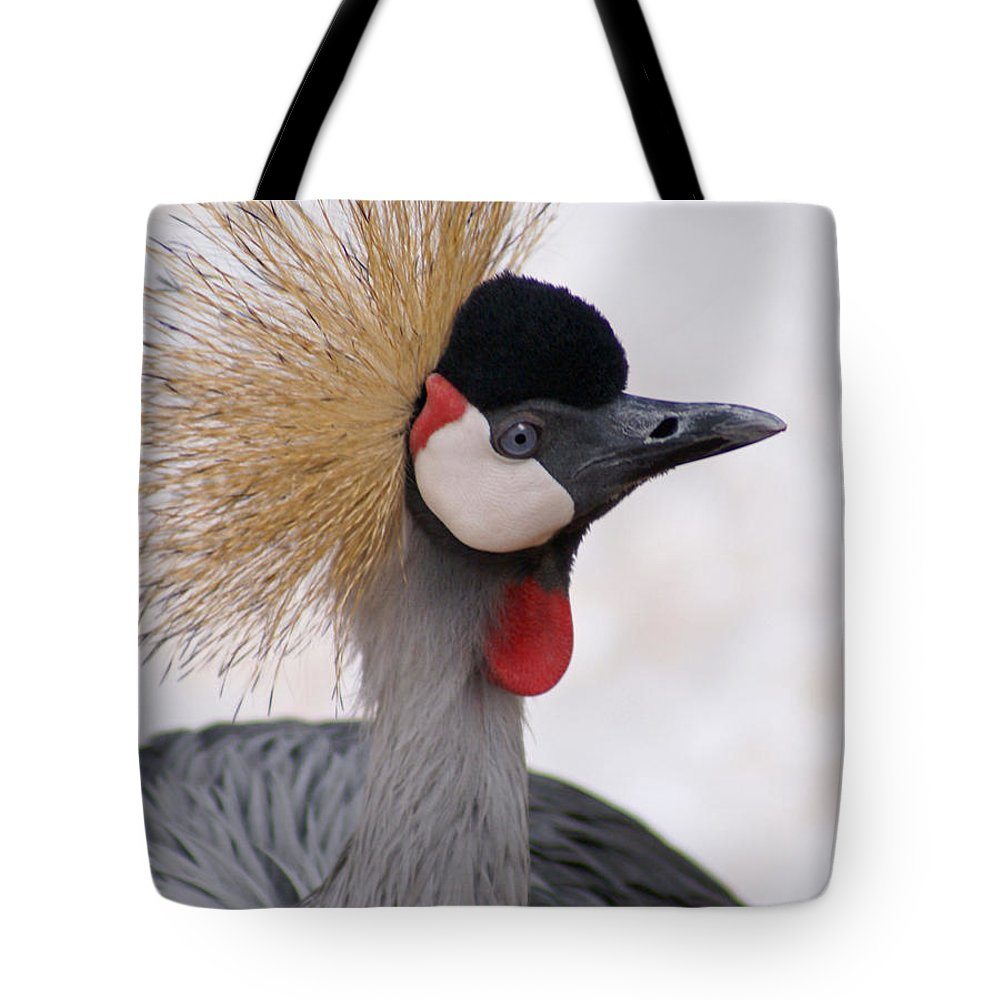 Crane Tote Bag featuring the photograph The Headress Crowned Crane by Heather Coen